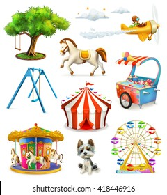 Children playground, vector icons set