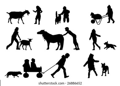 children playing with animals collection