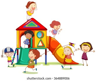 Children playing around the playhouse illustration