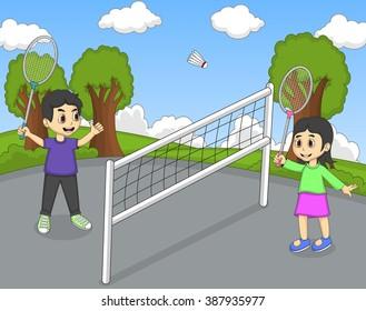 Children playing badminton in the park cartoon vector illustration