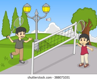 Children playing badminton in the park cartoon vector illustration