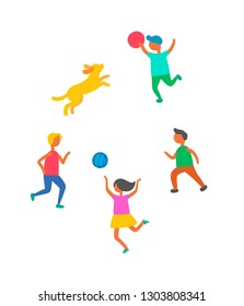 Children playing in ball with dog pet outdoors vector isolated. Cartoon style kids boys and girl play with canine animal, happy childhood concept