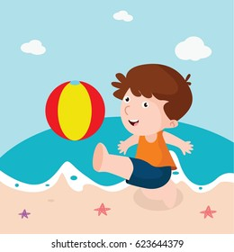 children playing ball on the beach cartoon character