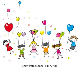 children playing with balloons. Blank space for text