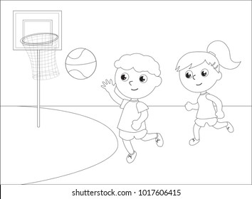 Children playing basketball black and white vector