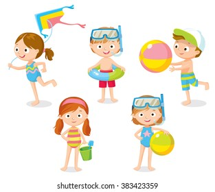 children playing at the beach on summer holidays