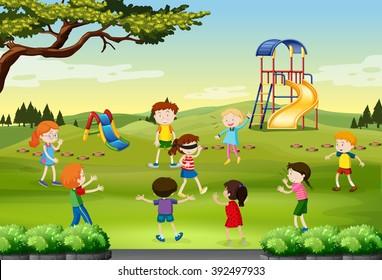 Children playing blind folded in the park illustration