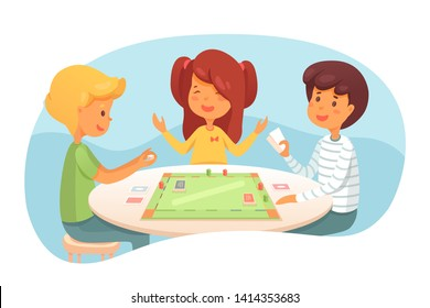 Children playing board game vector illustration. Cute kids, friends, siblings enjoy indoor activity. Boy throwing dice cartoon character. Player holding cards