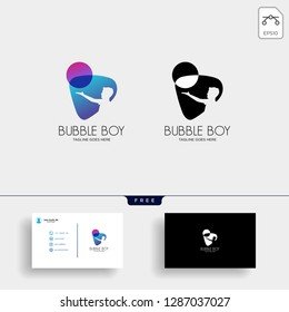 children playing bubble or balloon logo template with business card
