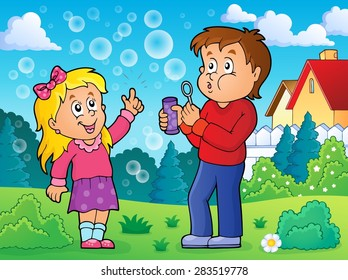 Children playing with bubble kit theme 2 - eps10 vector illustration.