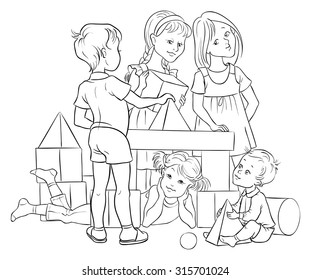 Children playing with building colorful blocks. Vector cartoon lifestyle black and white illustration. Coloring page. Also available colored version