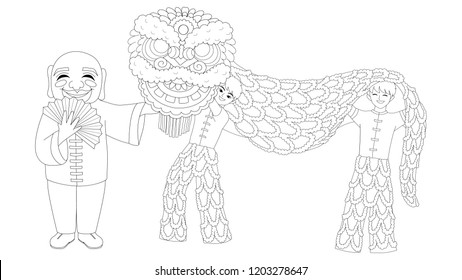 Children playing Chinese lion dance for printed greeting cards, poster,banner and coloring book page for anti stress. Vector illustration