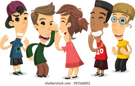 children playing chinese whispers cartoon illustration