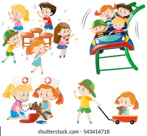 Children playing different games illustration