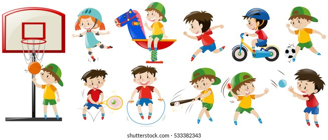 Children playing different sports and game illustration