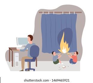 Niños jugando con cortina de fuego dentro de la casa. Padre ignorando a los niños en peligro. Niños en accidentes sin ayuda. Niños sin atención de los padres. Familia irresponsable. Vector de caricatura plana