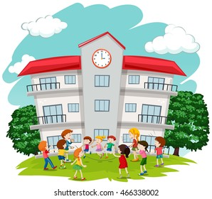 Children playing in front of school illustration