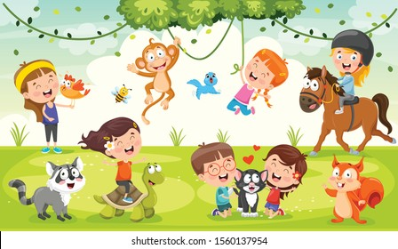 Children Playing With Funny Animals