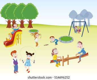 children are playing games at the park