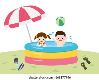 Children playing in a garden pool