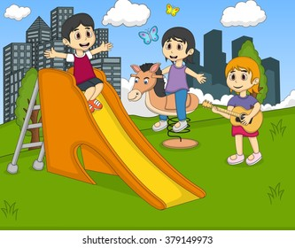 Children playing guitar, rocking horse at the park