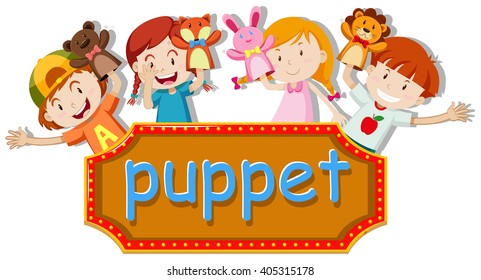 Children playing hand puppets illustration
