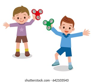 Children playing in Hand spinner toys