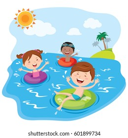Children playing and having fun in the water