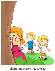 Children Playing Hide and Seek in the Park - Vector