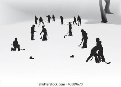 children playing hockey on a frozen lake