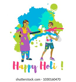 Children playing holi .Happy holi festival greeting card and vector design. Colorful illustration cartoon flat style with spashes of paints