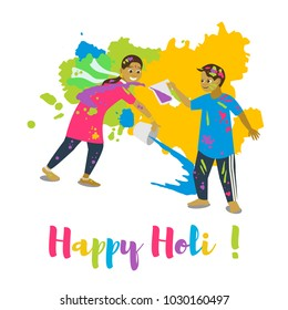 Children playing holi .Happy holi festival greeting card and vector design. Colorful illustration cartoon flat style with spashes of paints.