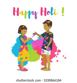 Children playing holi .Happy holi festival greeting card and vector design. Colorful illustration cartoon flat style with splashes of paints.