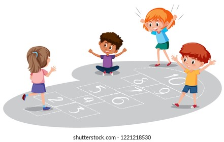 Children playing hopscotch game illustration
