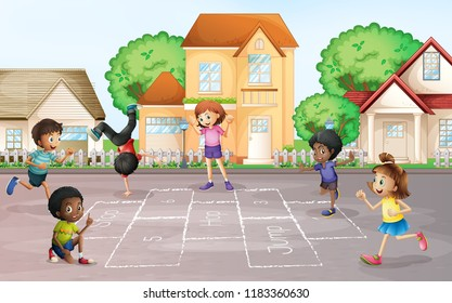 Children playing hopscotch at village illustration