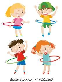 Children playing hula hoops illustration