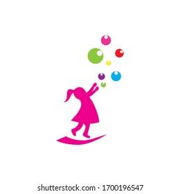 children playing illustration logo vector