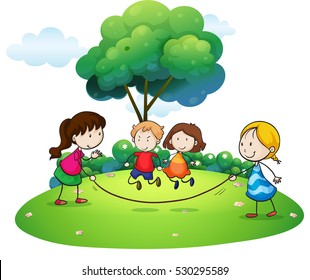 Children playing jump rope in the park illustration