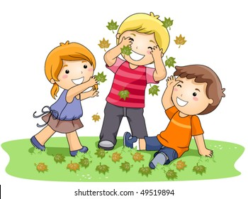 Children playing with Leaves in the Park - Vector