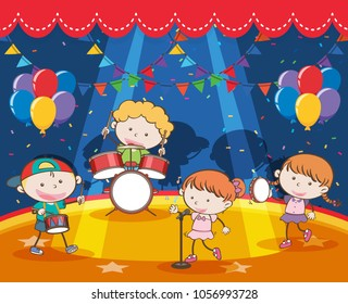 Children playing music in the band on stage illustration