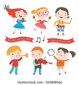 Children playing music instruments. Little musicians.Vector collection isolated on a white background.
