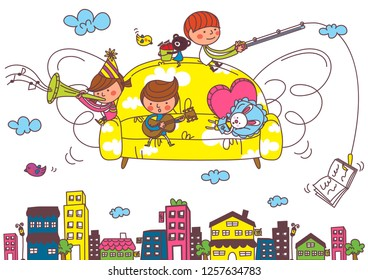 Children playing musical instruments on the couch