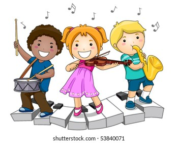 Children playing Musical Instruments - Vector