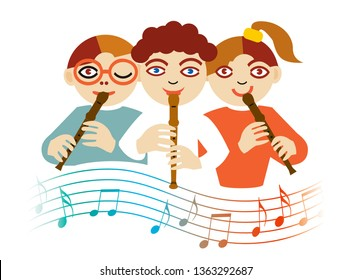 Children playing on the flute. Illustration of three children playing on the flute with wave with musical notes. Isolated on white background. Vector available.