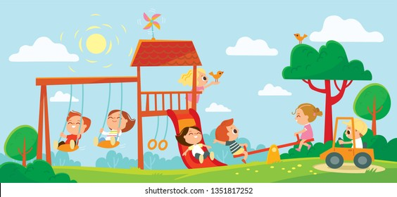Children playing on playground. Kids swinging and playing. Summer background with trees.