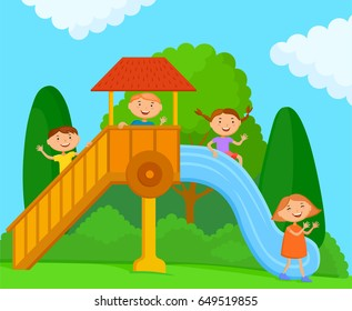 Children playing on the playground on the nature. A company of kids in bright clothes is riding on a children's slide