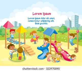 Children playing on playground with rope bridge, hanging horizontal ladder, slide ,radical rotator, carousel fooling around, having fun in fine good mood.