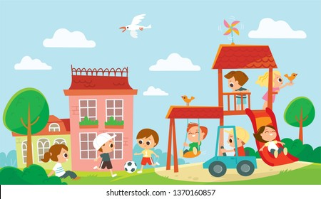 Children playing on playground. Summer activities. Happy kids playing in the summer camp.