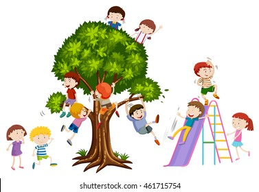 Children playing on tree and slide illustration