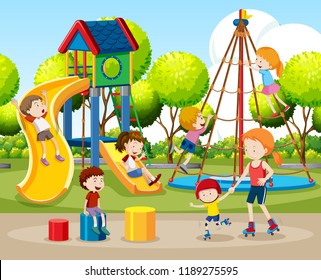 Children playing outdoors scene illustration